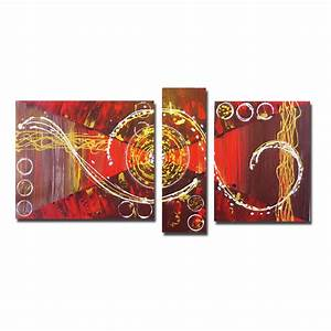 Tableau Moderne Salon : chiaradeco tableau triptyque rouge marron dor blanc design abstrait moderne chic salon ~ Teatrodelosmanantiales.com Idées de Décoration