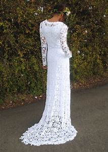 ivory or white crochet lace bohemian wedding dress With crochet lace wedding dress