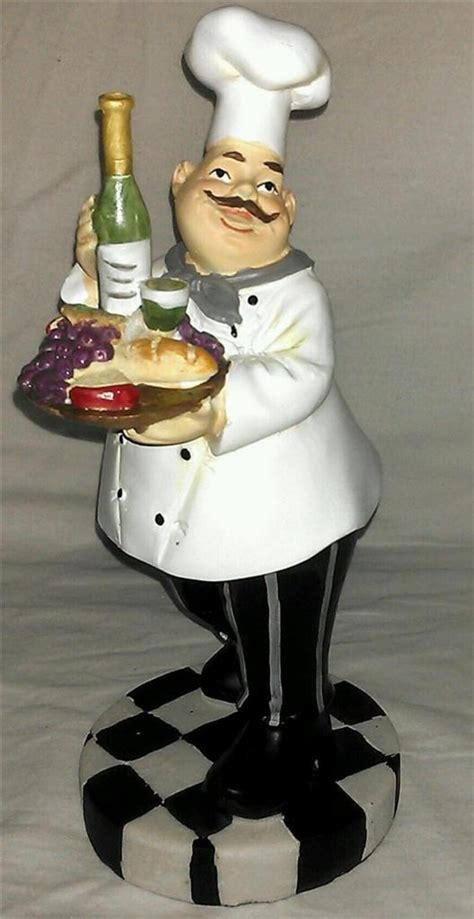 fat chef french italian baker statue tall big figurine