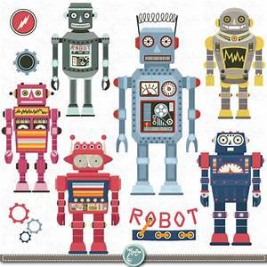"""Robots Clipart pack """"ROBOT CLIP ART"""",Vintage Robot,Cute ..."""