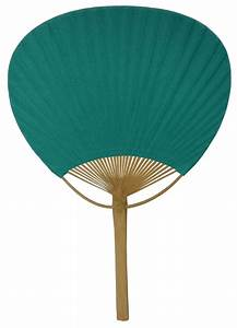 """Paper Paddle Hand Fan 14 5"""" Peacock Green"""