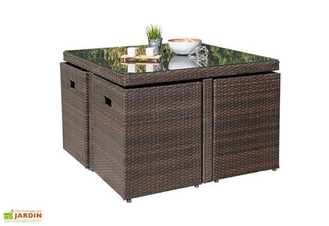 salon de jardin encastrable en r 233 sine tress 233 e et verre chocolat dcb garden