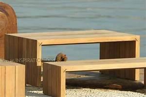 Mobilier Bois Design : meuble exterieur bois table bistrot jardin maisonjoffrois ~ Melissatoandfro.com Idées de Décoration