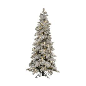 lowes white 9 ft slim white christmas shop vickerman 5 ft pre lit spruce flocked slim artificial tree with white led