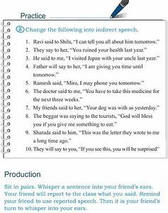 Direct And Indirect Speech Worksheet Grade 5