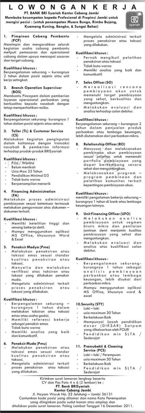 lowongan kerja pt bank bri syariah kantor cabang jambi