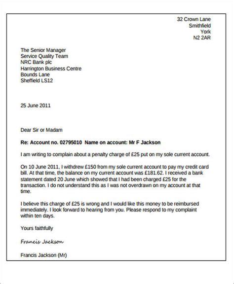 sample letter  explanation  overdraft charges  bank