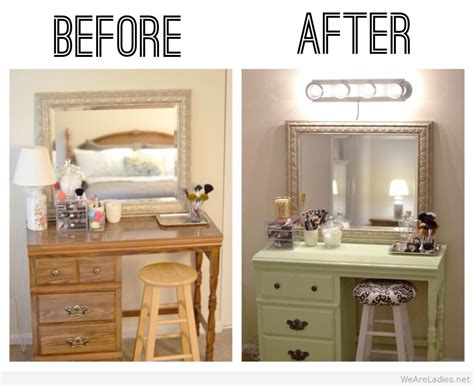 before and after picture of diy makeup vanity table with