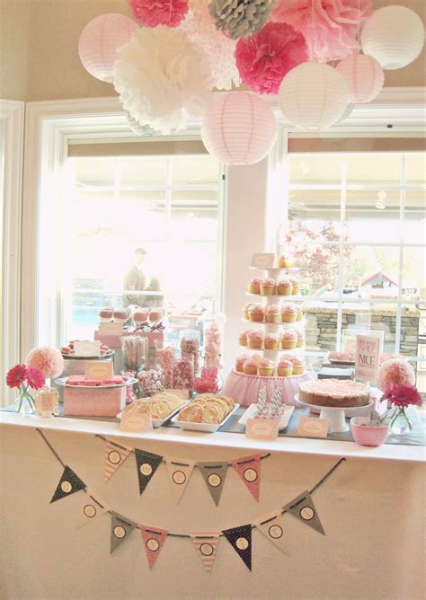 table for baby shower seriously daisies pink gray baby shower table