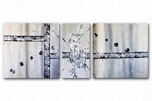 Tableau Triptyque Moderne : triptyque abstrait gris espace rectangle ~ Teatrodelosmanantiales.com Idées de Décoration