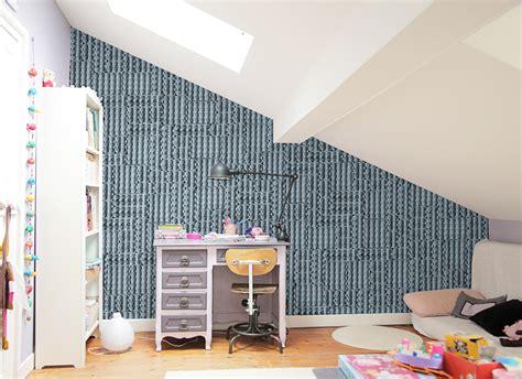 chambre blue papier peint original décoration murale en édition
