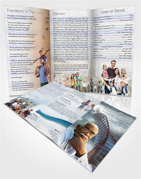 obituary template trifold brochure stairway  heaven
