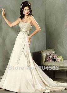 free shipping classic elegant cream empire waist strapless With creme wedding dress