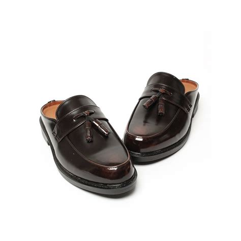mens brown tassel loafer mules shoes