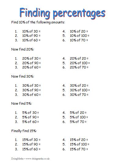 fractions decimals and percentages free resources