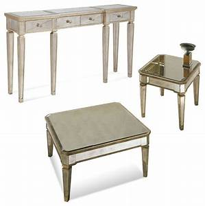 Bassett mirror borghese mirrored square 3 piece cocktail for 3 piece coffee table set under 100