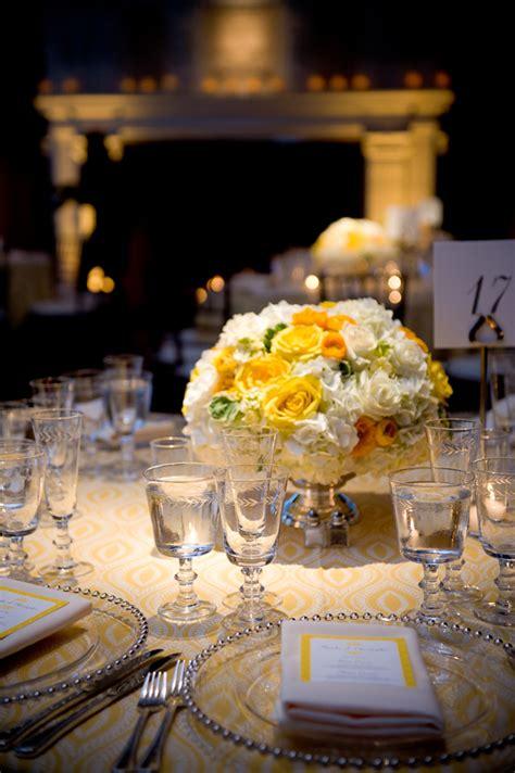 elegant yellow white rose centerpiece elizabeth anne