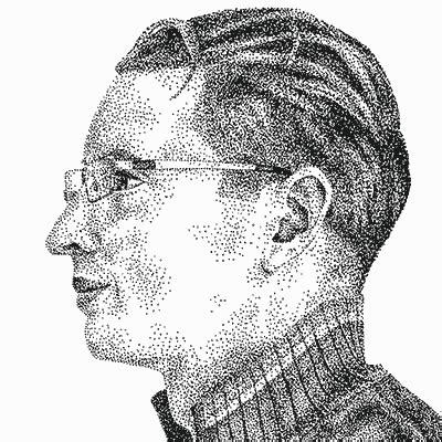 create  hand drawn pointillism portrait