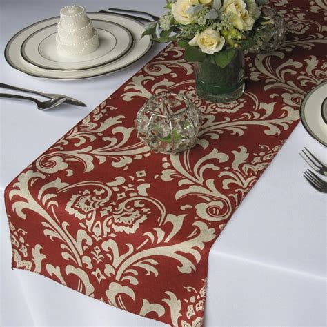 red table runner with 5 led lights traditions light burgundy and taupe damask wedding table runner 2591735 weddbook