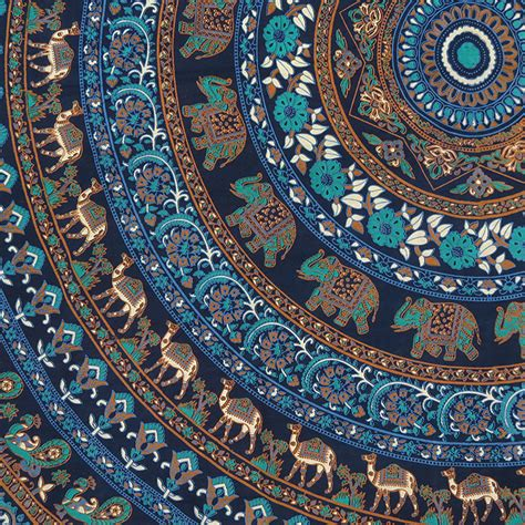 large queen blue indian hippie mandala tapestry bedspread