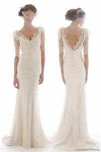 elizabeth fillmore french lace backless 3 4 sleeve wedding With 3 4 sleeve lace wedding dress