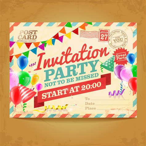 Party invitation background free vector download (46 079
