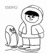 Eskimo Coloring Igloo Pages sketch template