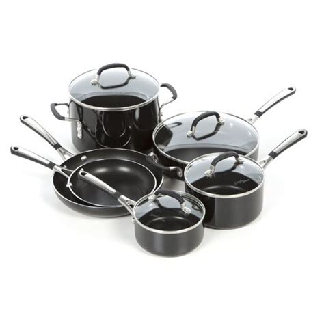 stainless steel fissler pots  pans  simply calphalon enamel  piece cookware set black ipa