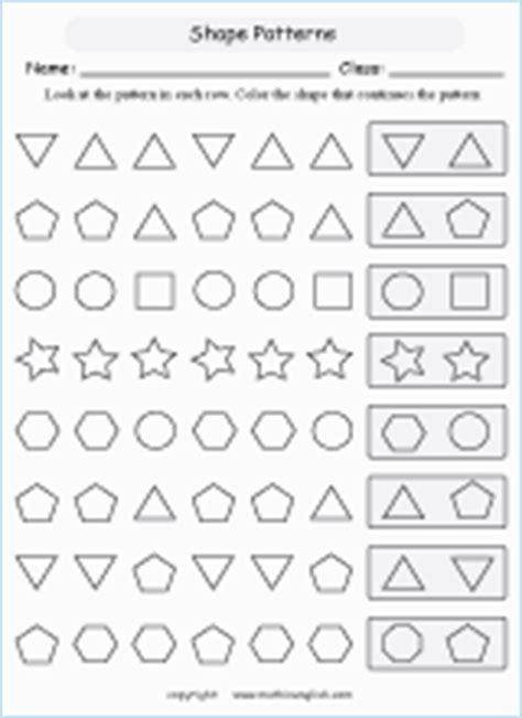 complete shape patterns printable grade  math worksheet