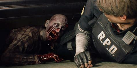 resident evil remake zombie lickers tyrant gameplay leon weapons crawling away