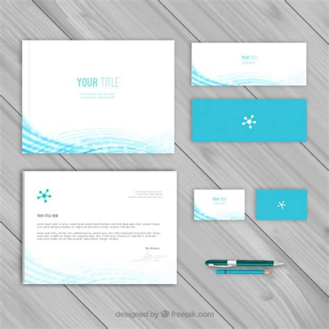 blue corporate identity template vector free download