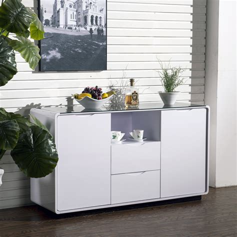 High Sideboard by Maestro Buffet Sideboard White High Gloss W Black
