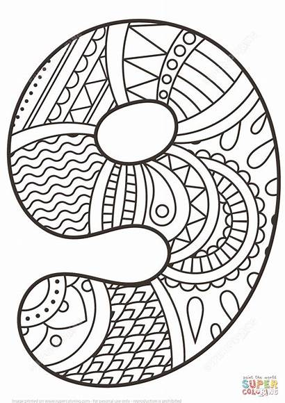 Coloring Number Pages Zentangle Printable Nine Drawing