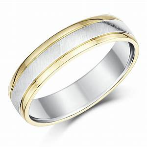 5mm silver and 9ct yellow gold two tone wedding ring band With two gold wedding rings