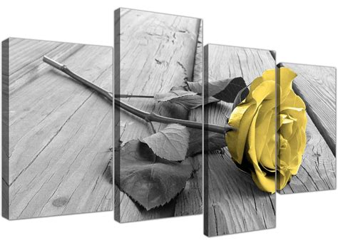 canvas art  yellow rose pictures black white grey