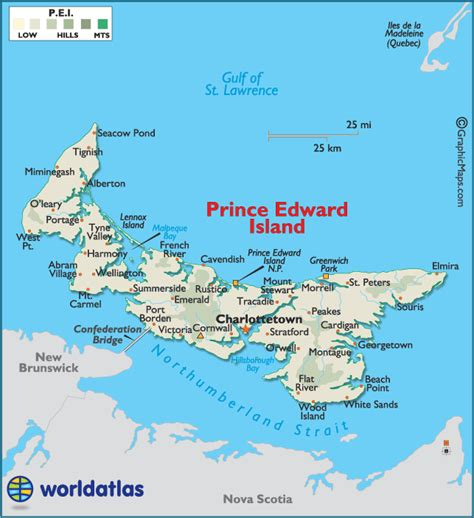 prince edward island canada large color map