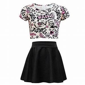 Kids Girls Love Graffiti Crop Top u0026 Black Skater Skirt Set ...