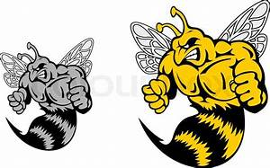 Angry hornet or yellow jacket mascot in cartoon style ...