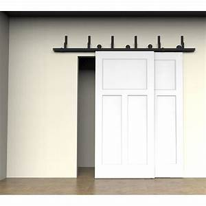 winsoon 5 16ft bypass sliding barn door hardware double With barn door tracks for sliding doors