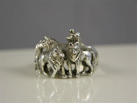 Sterling Silver Wolf Family Ring