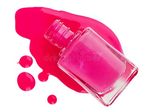 Bottle Of Pink Nail Polish With Enamel Drop Stock Images