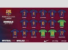 Los dorsales del FC Barcelona de fútbol sala para la
