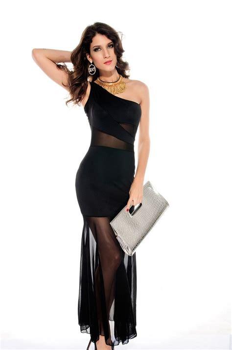 women  shoulder fishtail black chiffon dress