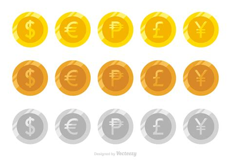Flat Vector Coins Of Different Currencies