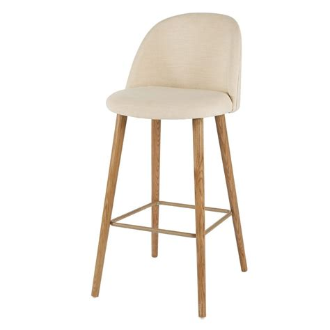 chaise de bar vintage ecrue  frene massif mauricettechaise haute de bar beige xxcm