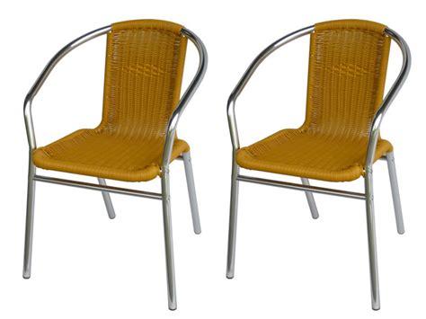 lot chaise de jardin lot 2 chaises jardin aluminium résine tressée lemonada