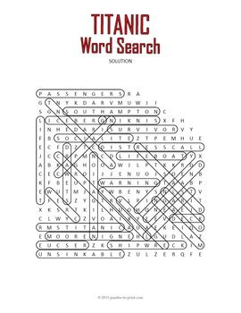 titanic word search puzzle  puzzles  print tpt