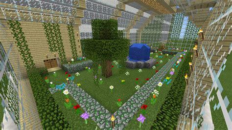 minecraft green house flower garden water fall fountain