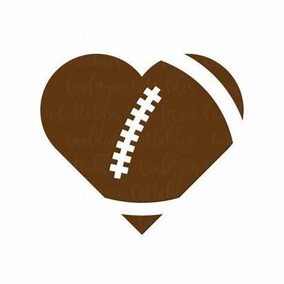 Football Heart Svg Shaped Clipart Cut Sports