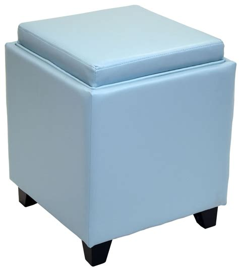 leather ottoman with storage and tray rainbow sky blue bonded leather storage ottoman with tray
